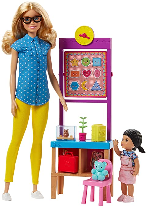 db173a8ca4b4 Barbie- Playset Maestra con Capelli Biondi, Piccola Alliev, FJB29 ...