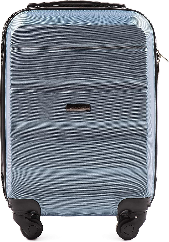 Valise Luxueuse et Moderne avec Poign/ée T/élescopique /à Deux /étages et Cadenas /à Combinaison Valise pour Avion L/éger VINCI LUGGAGE Chariot /à Cabine Spacieuse Bleu Argent/é, XS 51x33x20