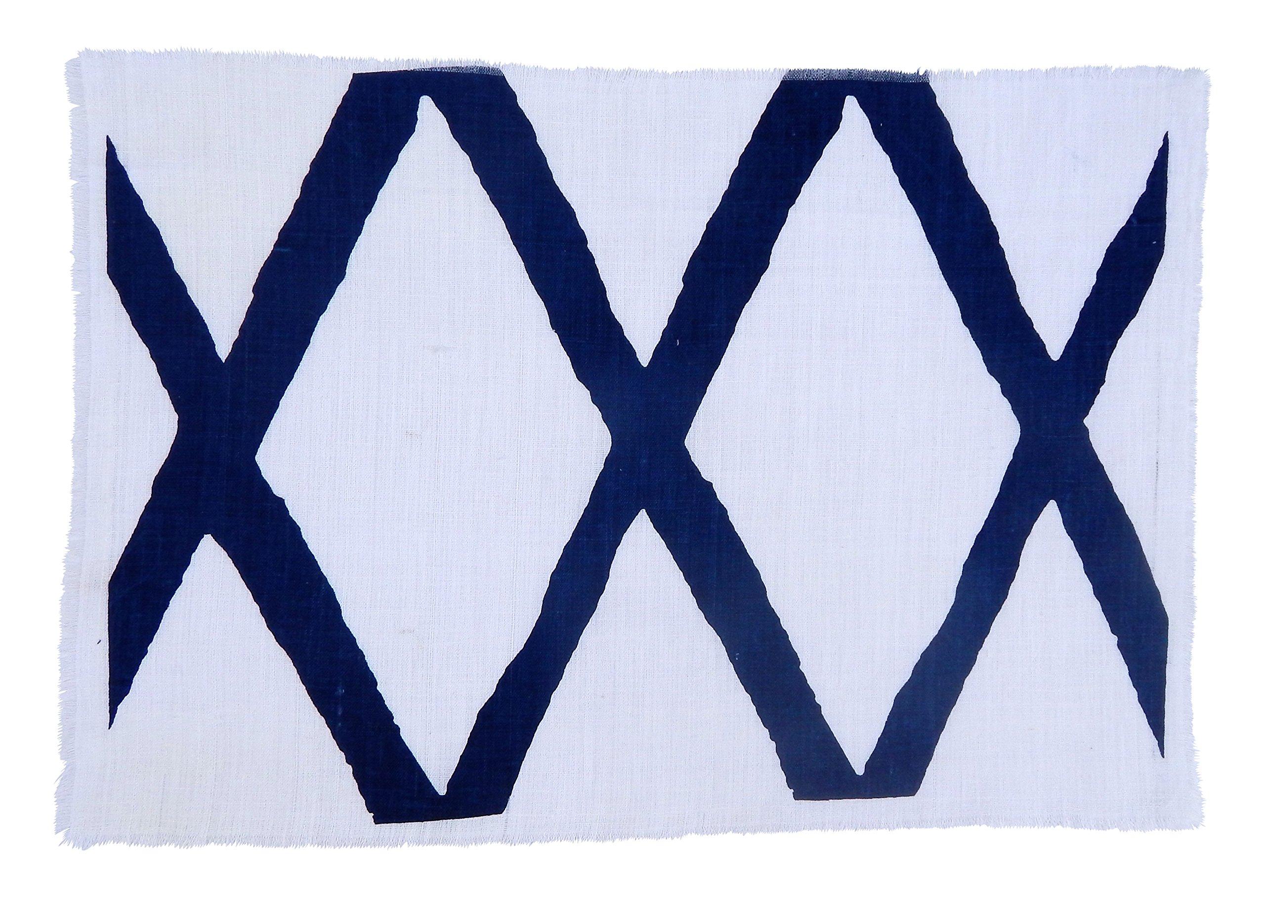 Gitika Goyal Home Windows Collection Cotton Khadi White Mat 17x12 Diamond Design, Blue Hand Screen Print