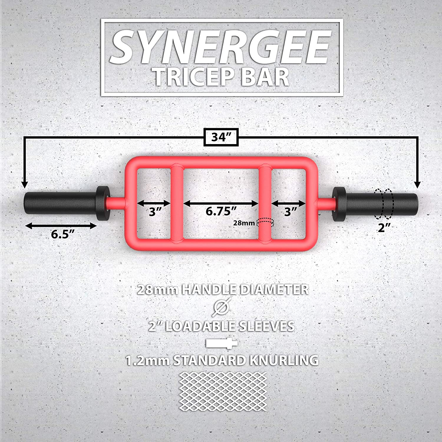 Pressing Workouts Synergee Tricep Bar 25 lbs for Maximum Gains /& Comfort for Extensions Black Chrome Curls Upper Body Exercise Gear Available in Red
