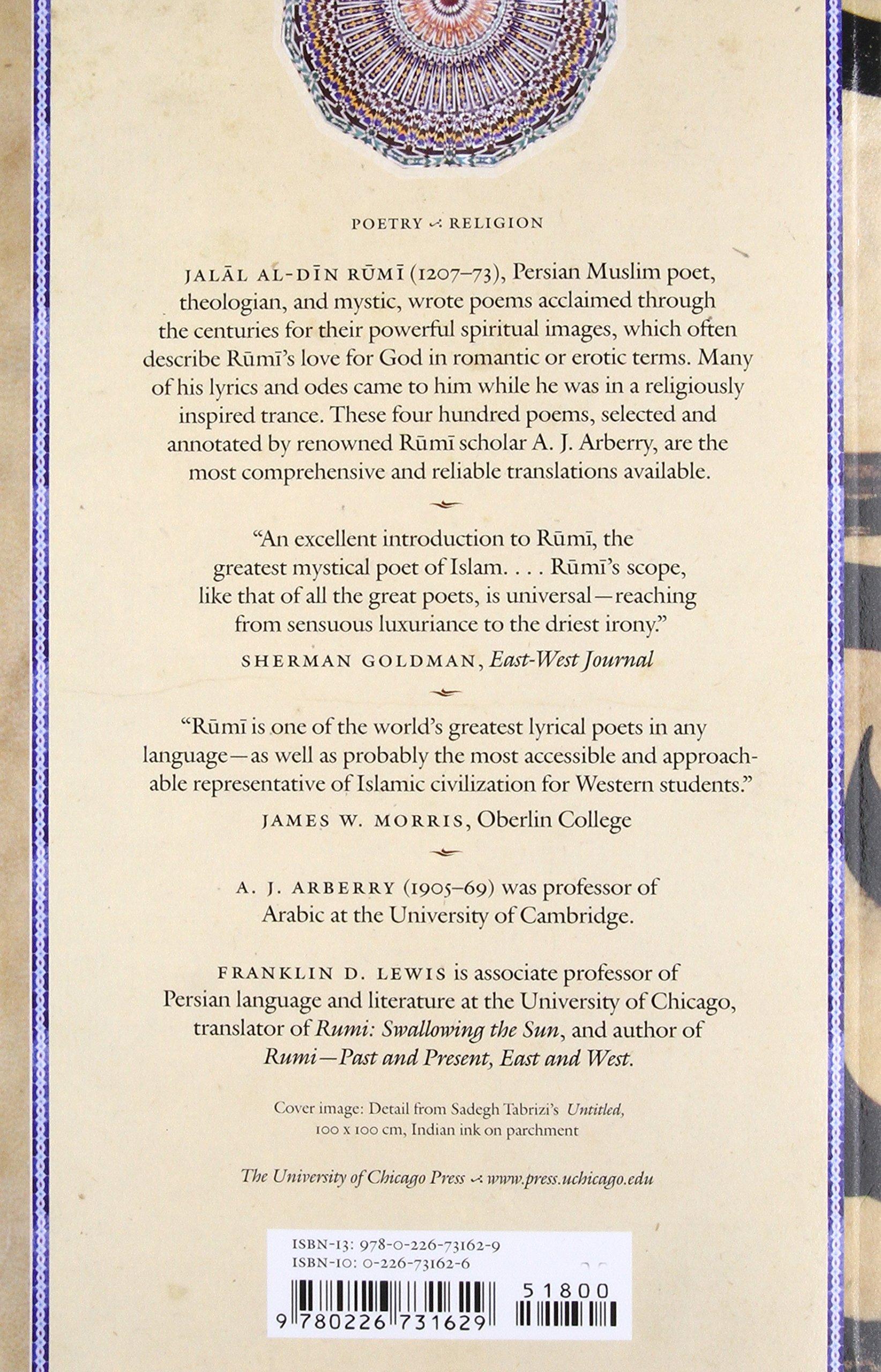 Amazon.com: Mystical Poems of Rumi (9780226731629): Jalal al-Din ...