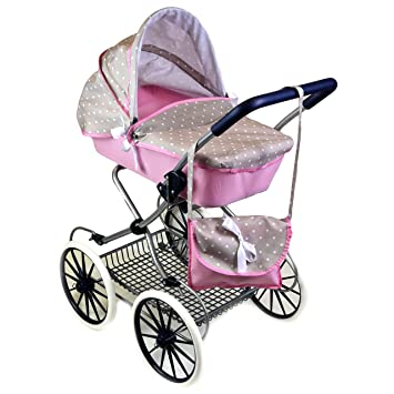 Cambridge Style Dolls Vintage Pram Stroller Storage Basket Carry Bag Girls Buggy Pink
