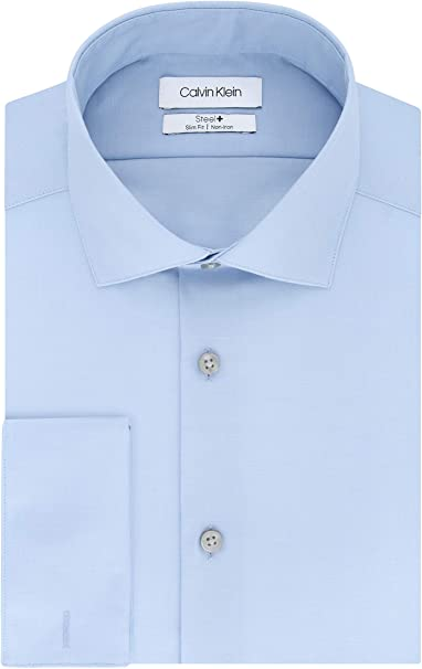 Casu Details about  /Blue and White Mens Slim Fit French Cuff Dress Shirts with Cufflink Holes