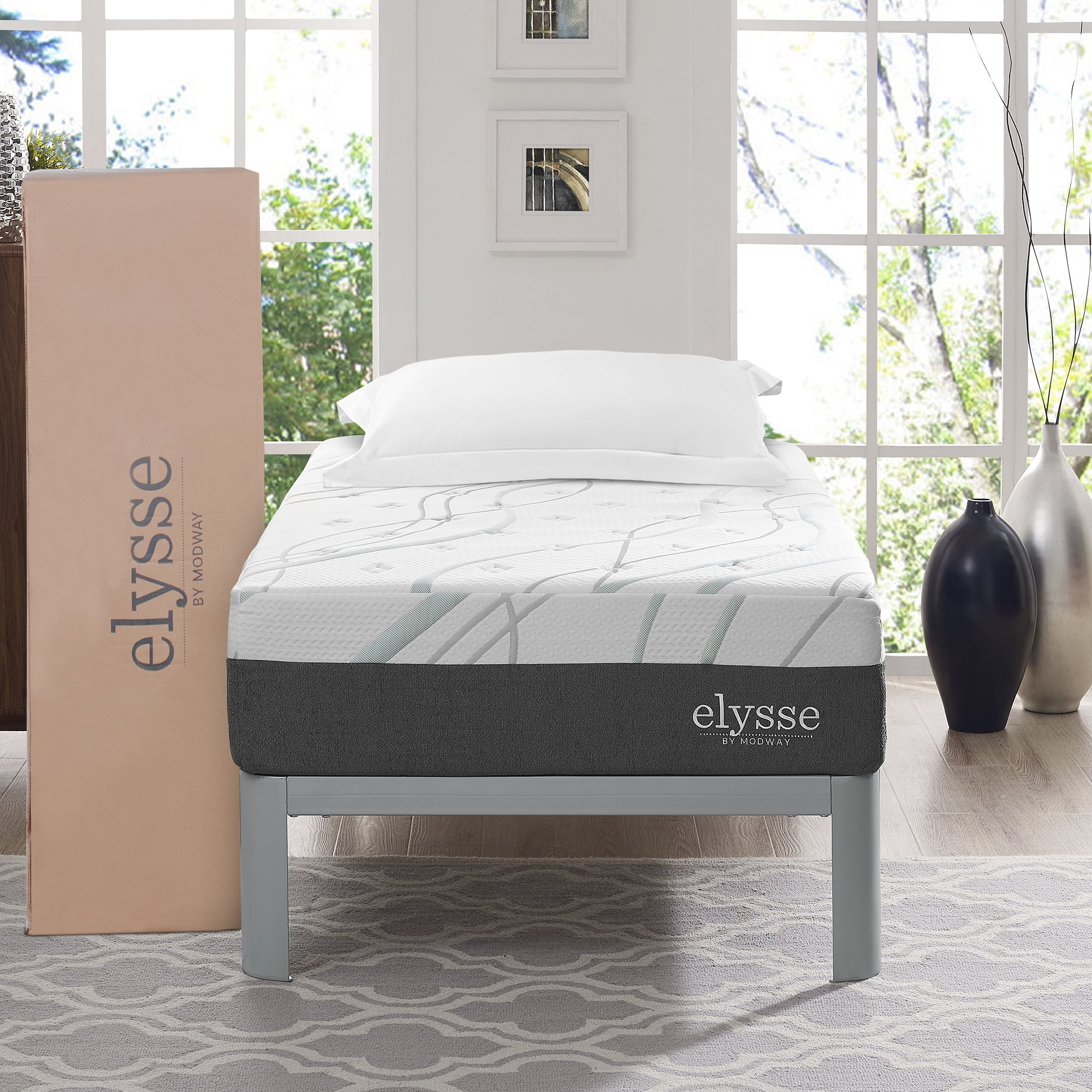 "Modway Premium Aveline Elysse 12"" Twin Cooling Hybrid Mattress - CertiPUR-US Certified Memory Foam - Individually Encased Coils - 10-Year Warranty"