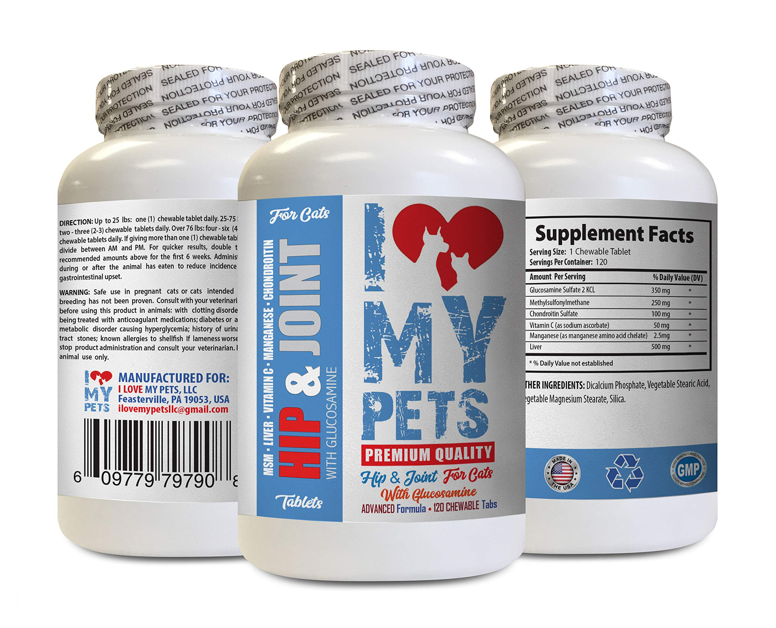 I LOVE MY PETS LLC Senior cat Vitamins - CAT Hip and Joint Support - Best Strong Formula - Calcium for Cats - 120 Treats (1 Bottle) by I LOVE MY PETS LLC