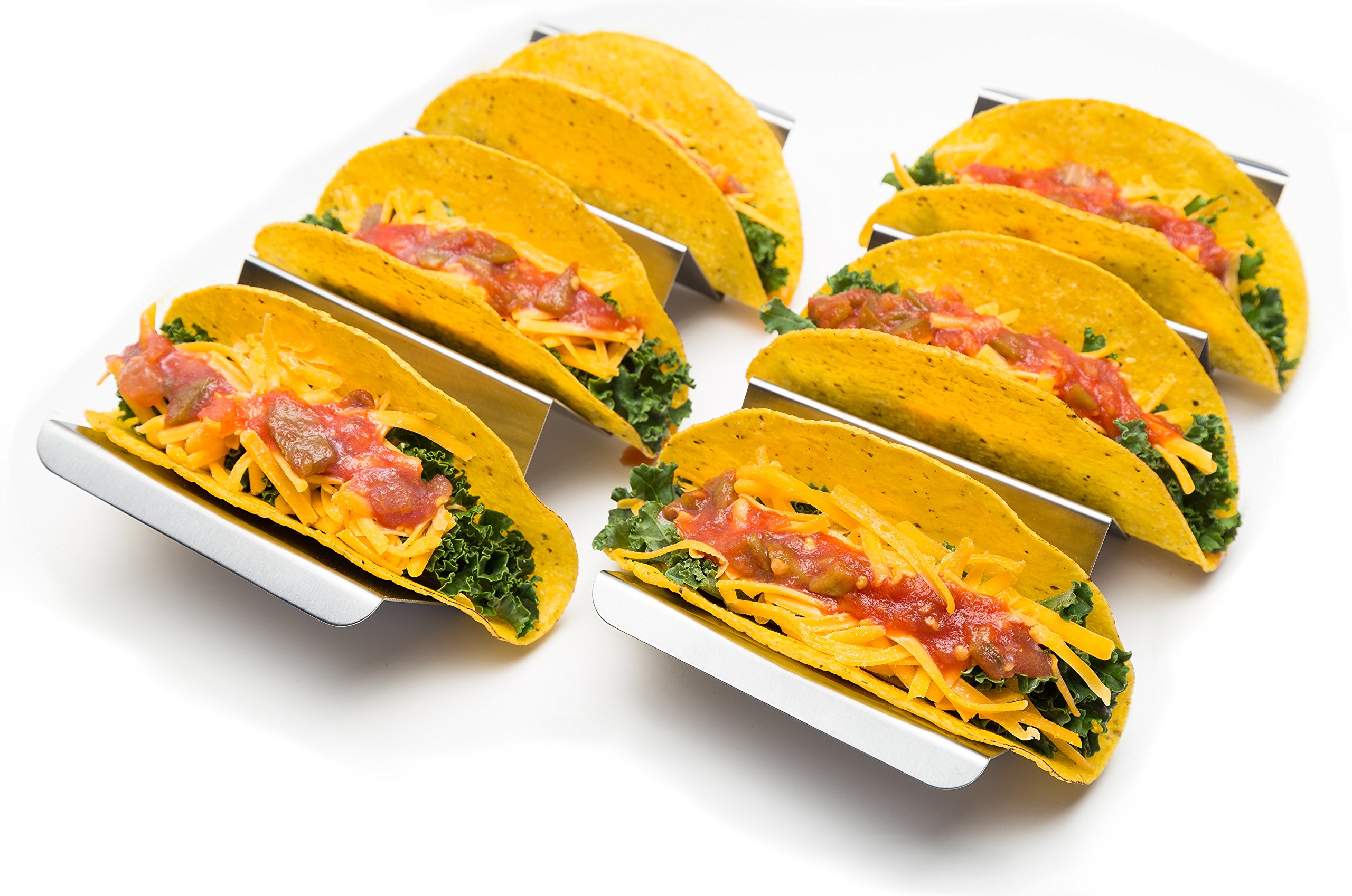 2 Pack - Restaurant Quality Stainless Steel Taco Holder Stand Tray with Handles, Easy Fill Rack, Holders are Oven, Grill and Dishwasher Safe, 9.75'' x 4''