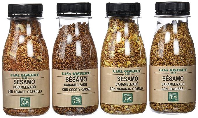 Casa Gispert Semillas de Sésamo Caramelizado 4 Sabores - Paquete de 4 x 110 gr -