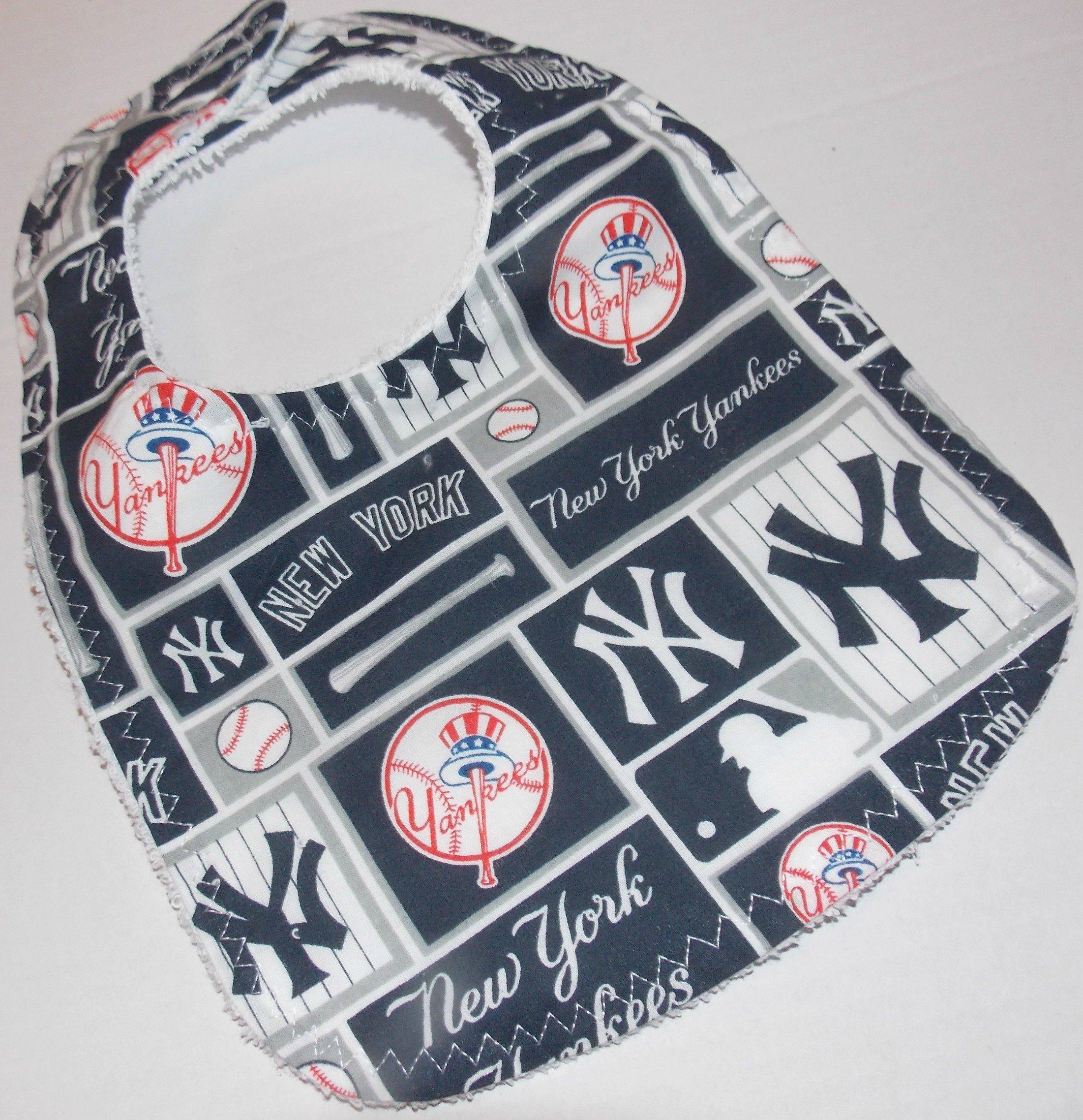 Handmade baby bib made from New York Yankees fabric