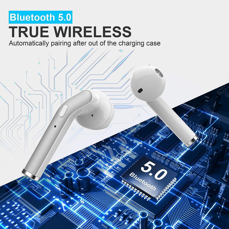 Mini /écouteurs de Voiture r/ésistants am/élior/é /Écouteurs Intra-Auriculaires sans Fil IPX7 /étanches Suppression du Bruit Bluetooth 5.0 HiFi Bass st/ér/éo avec /étui de Chargement