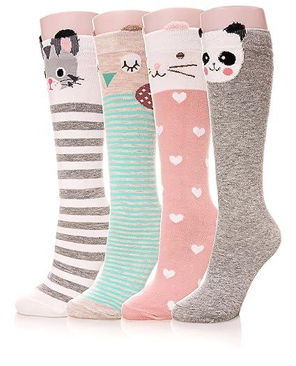 8b2c09b915 Color City Girls Socks Knee High Stockings Cartoon Animal Warm Cotton Socks  (4 Pairs)