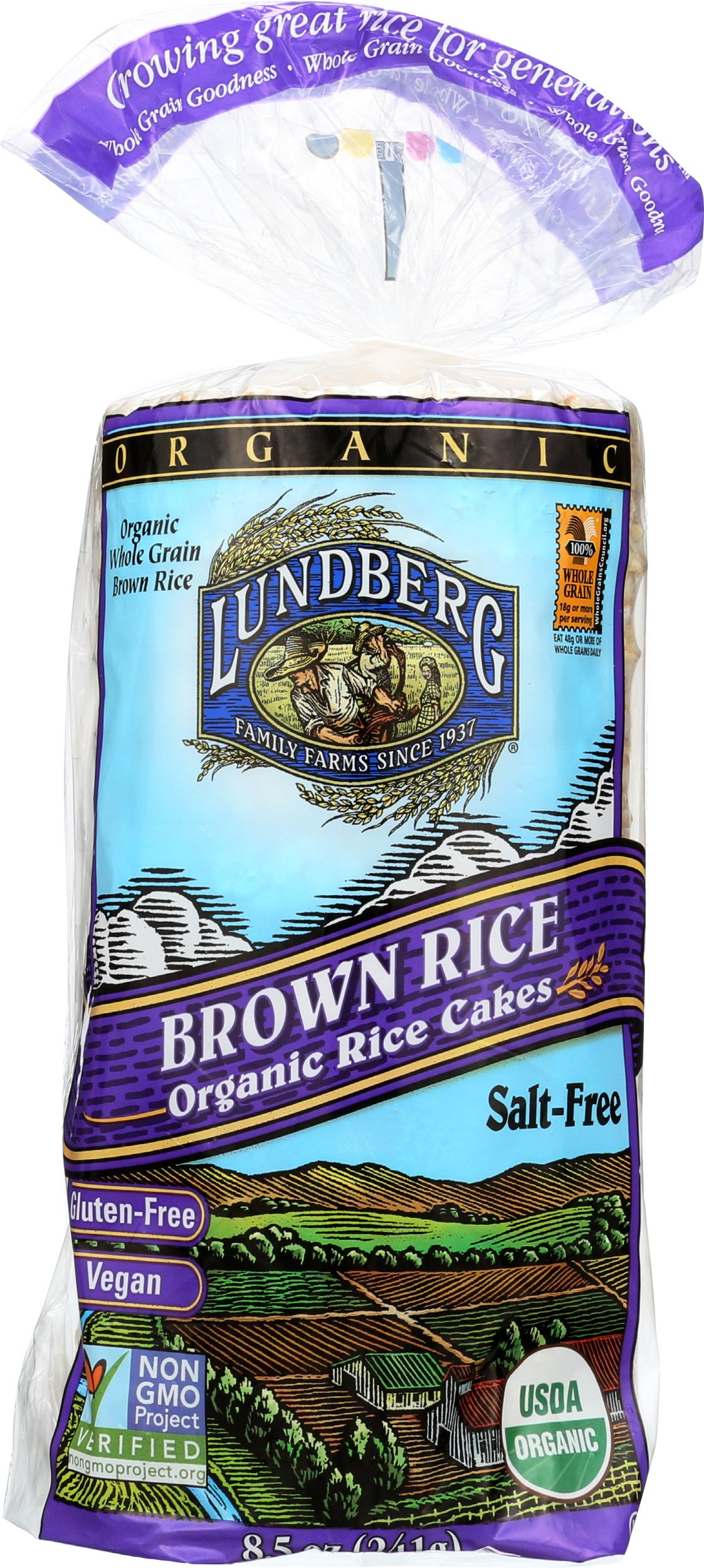 Lundberg Family Farms Organic Brown Rice Cakes, Salt-Free, 8.5 Ounce (Pack of 12) by Lundberg