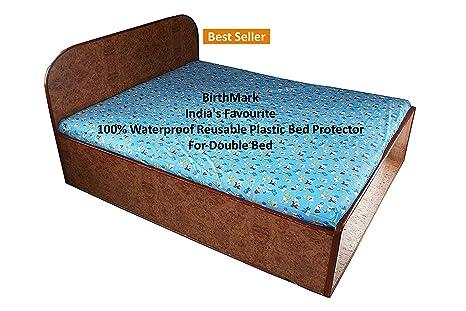 plastic mattress protector. BirthMark Baby Double Bed Waterproof Plastic Mattress Protection Sheet Animal Print (6.5 X 6.5 Feet Protector T