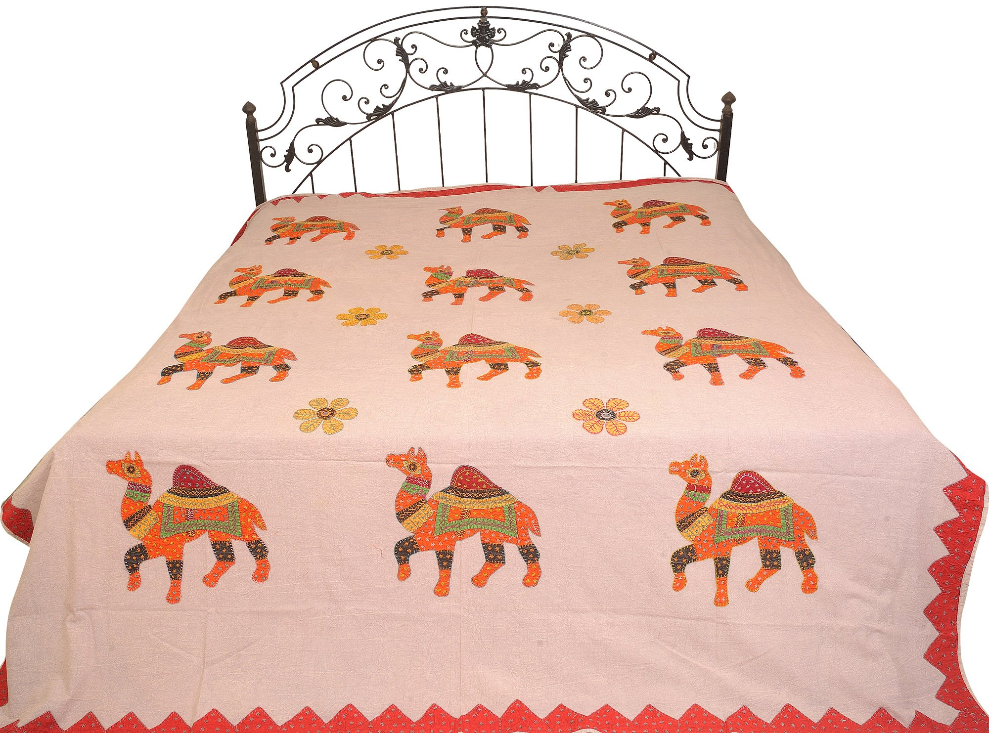 Violet-Ice Stonewashed Bedspread from Jaipur with Applique Camels - Pure Cotton