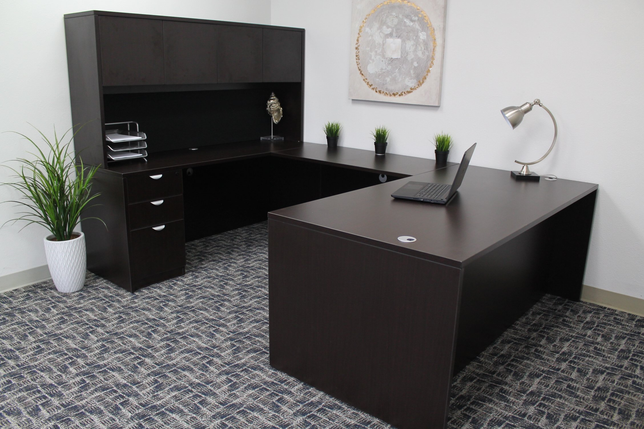 Boss Office Products Holland 71'' Executive U-Shape Desk with File Storage Pedestal and Hutch, Mocha