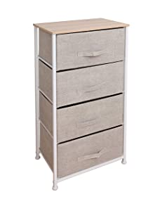 East Loft Tall 4 Drawer Dresser  Storage Organizer for Closet, Nursery, Bathroom, Laundry or Bedroom   Fabric Drawers, Solid Wood Top, Durable Steel Frame (Natural)