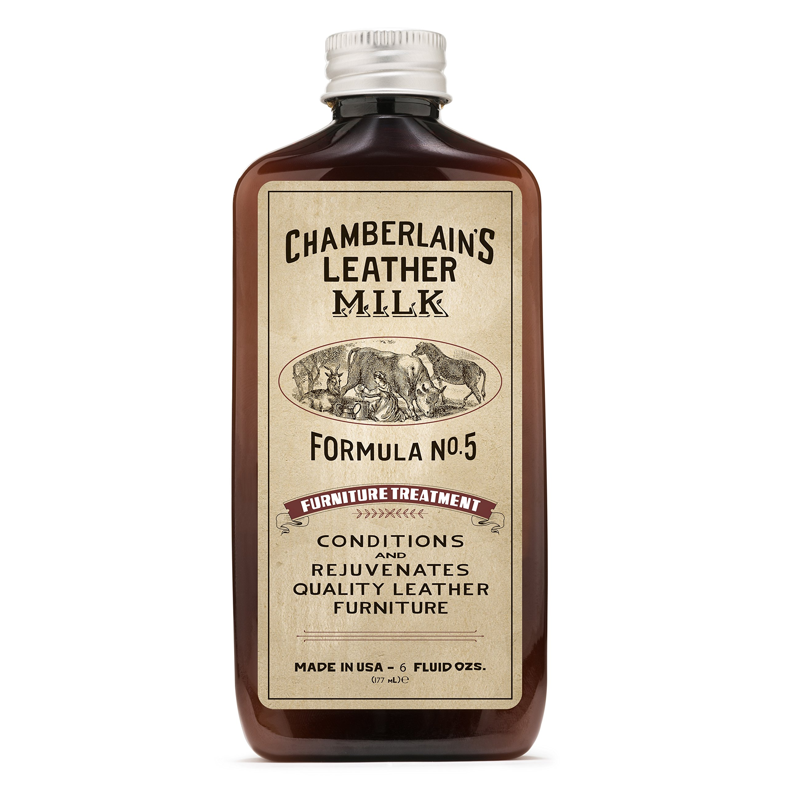Leather Milk Leather Furniture Conditioner and Cleaner - Furniture Treatment No. 5 - for All Natural, Non-Toxic Leather Care. Made in The USA. 2 Sizes. Includes Premium Applicator Pad! by Chamberlain's Leather Milk