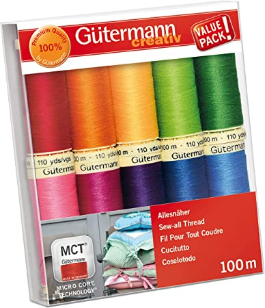 Gutermann Sew All Polyester Thread 110 Yards Each Seven Spools Basic Colors