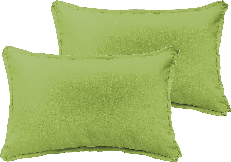 Mozaic Company AZPS7521 Indoor Outdoor Lumbar Pillows, Set of 2, 12 x 18, Apple Green