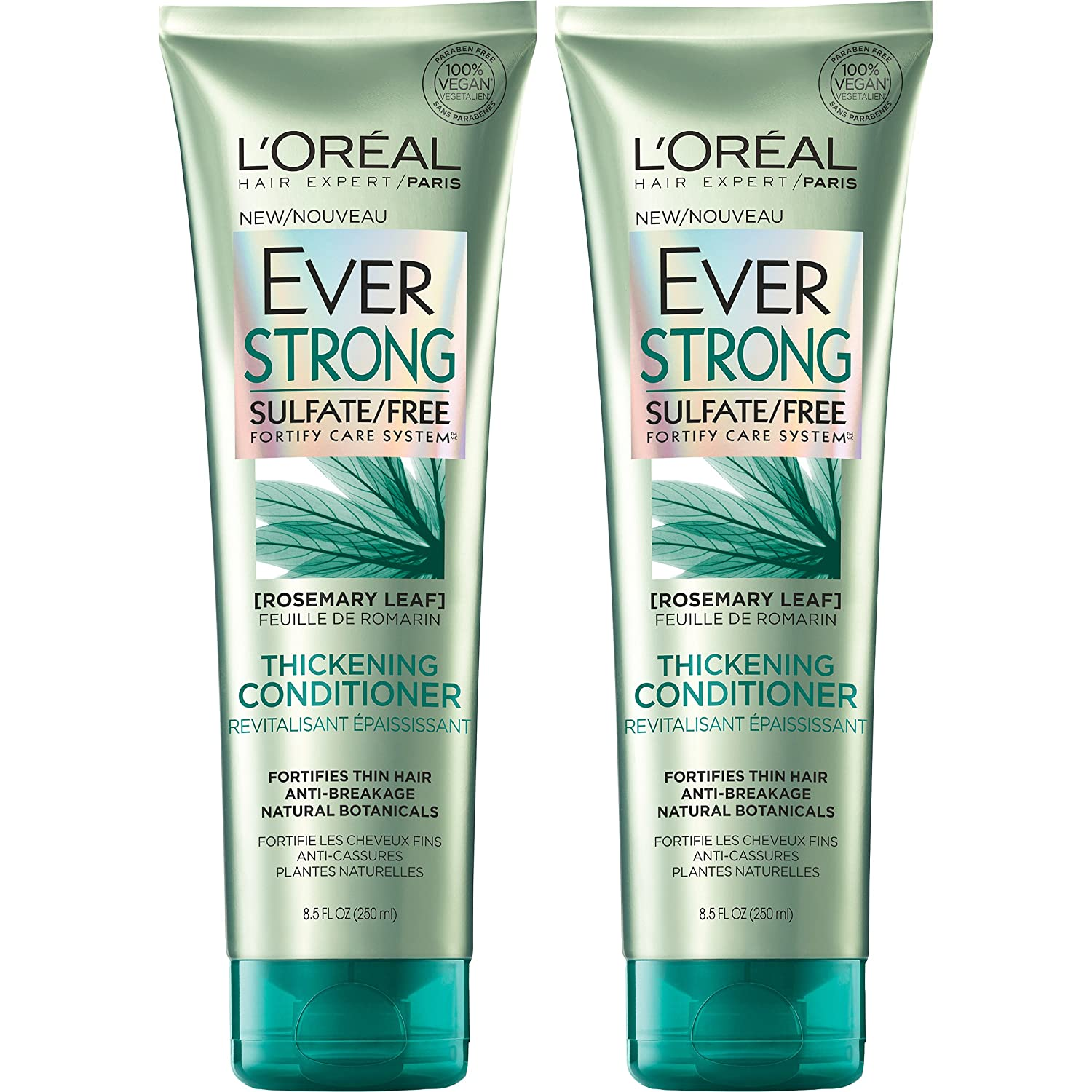 L'Oréal Paris Hair Care EverStrong Sulfate Free Thickening Conditioner, with Rosemary Leaf, 2 Count (8.5 Fl. Oz each)