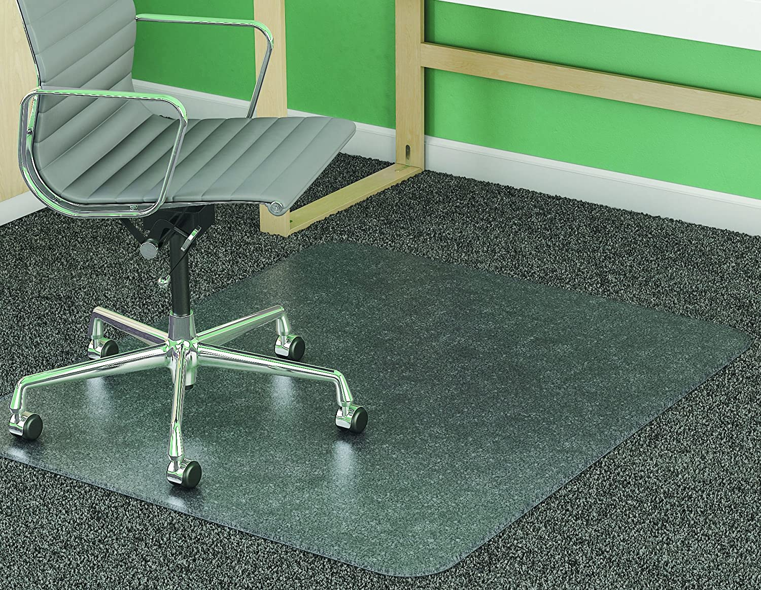 deflecto SuperMat Frequent Use Chair Mat Medium Pile Carpet Beveled 46 x 60 Clear