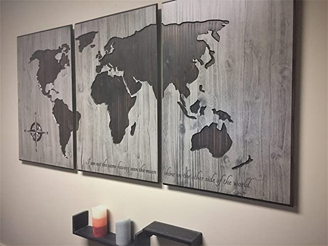 Amazon wood wall art wooden map world map with quote large wood wall art wooden map world map with quote large world map art gumiabroncs Gallery
