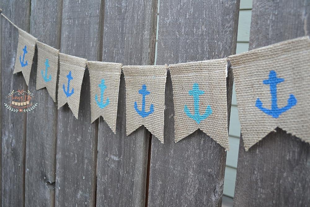 nautical burlap banner Anchor burlap banner many colours available
