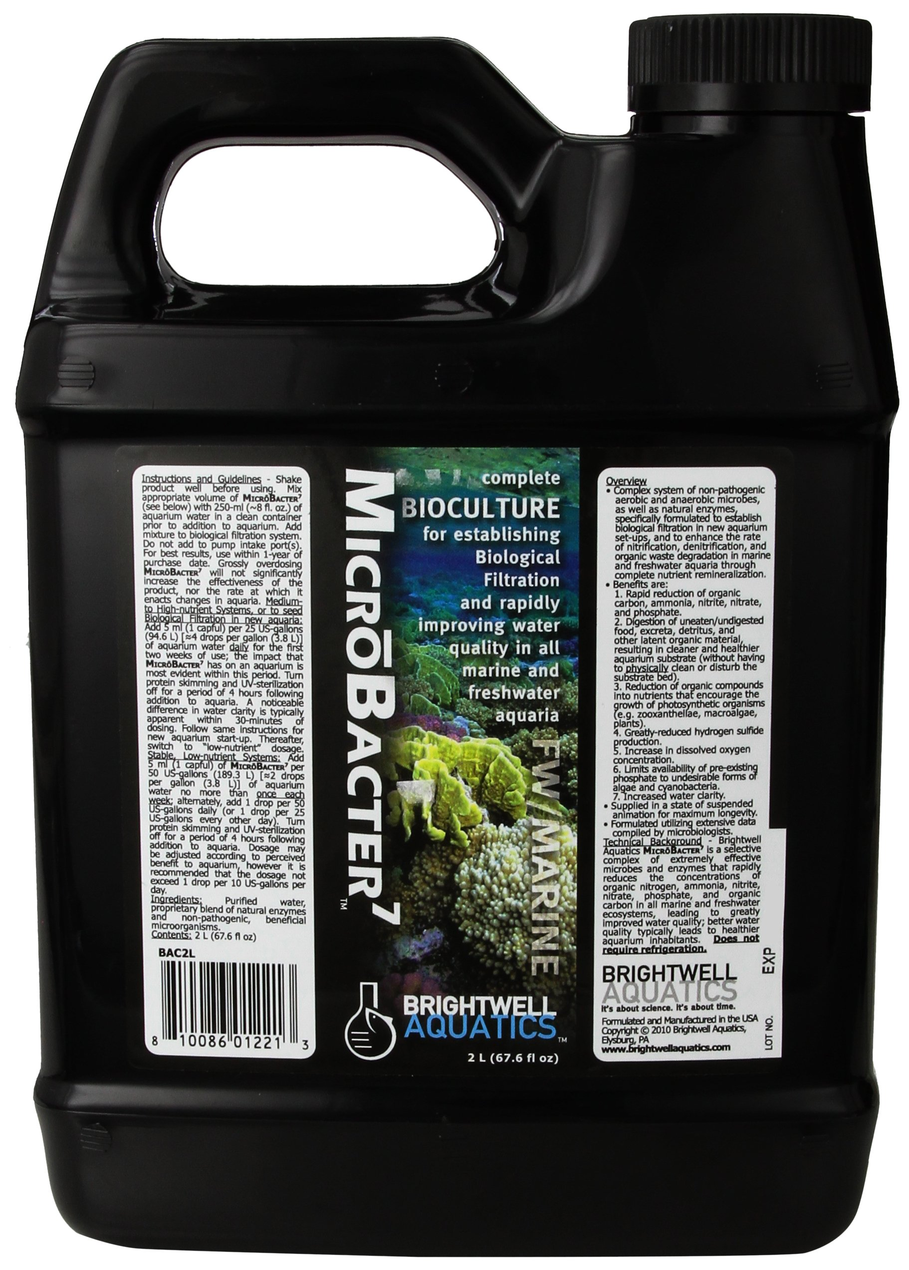 Microbacter7, Renowned Bacteria & Water Conditioner for Fish Tank Or Aquarium, Populates Biological Filter Media for Saltwater & Freshwater Fish, 2 Liter by Brightwell Aquatics