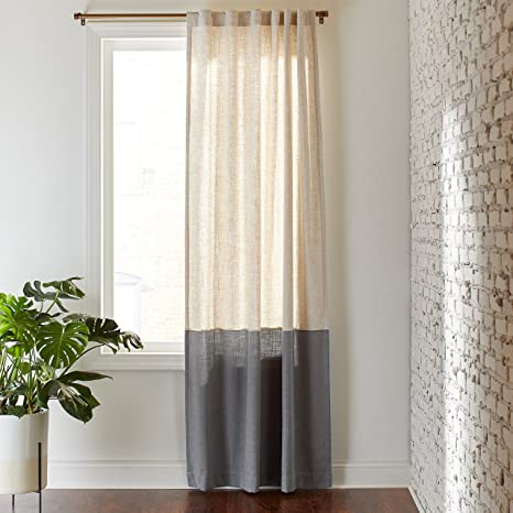 Amazoncom Rivet Casual Two Toned Cotton Linen Curtain One Panel