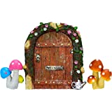 TROLIR Fairy Door for Trees, Miniature Fairy Garden Accessory, Mystical Gnome Home Door for Outdoor Decoration, Resin, 4.7 Inch High, Comes with Two Mushroom Sets