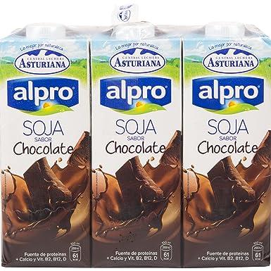 Alpro Central Lechera Asturiana Bebida de Soja Con Chocolate - Paquete de 6 x 1000 ml