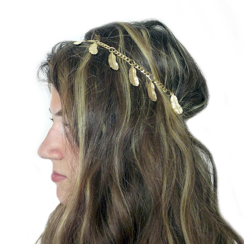 """TheStyleAssistant """"GREEN MAMBA"""" Haarschmuck Haarband mit Feder, Boho Hippie Schmuck Diadem Kopfschmuck, Gold, HB-F17-02"""