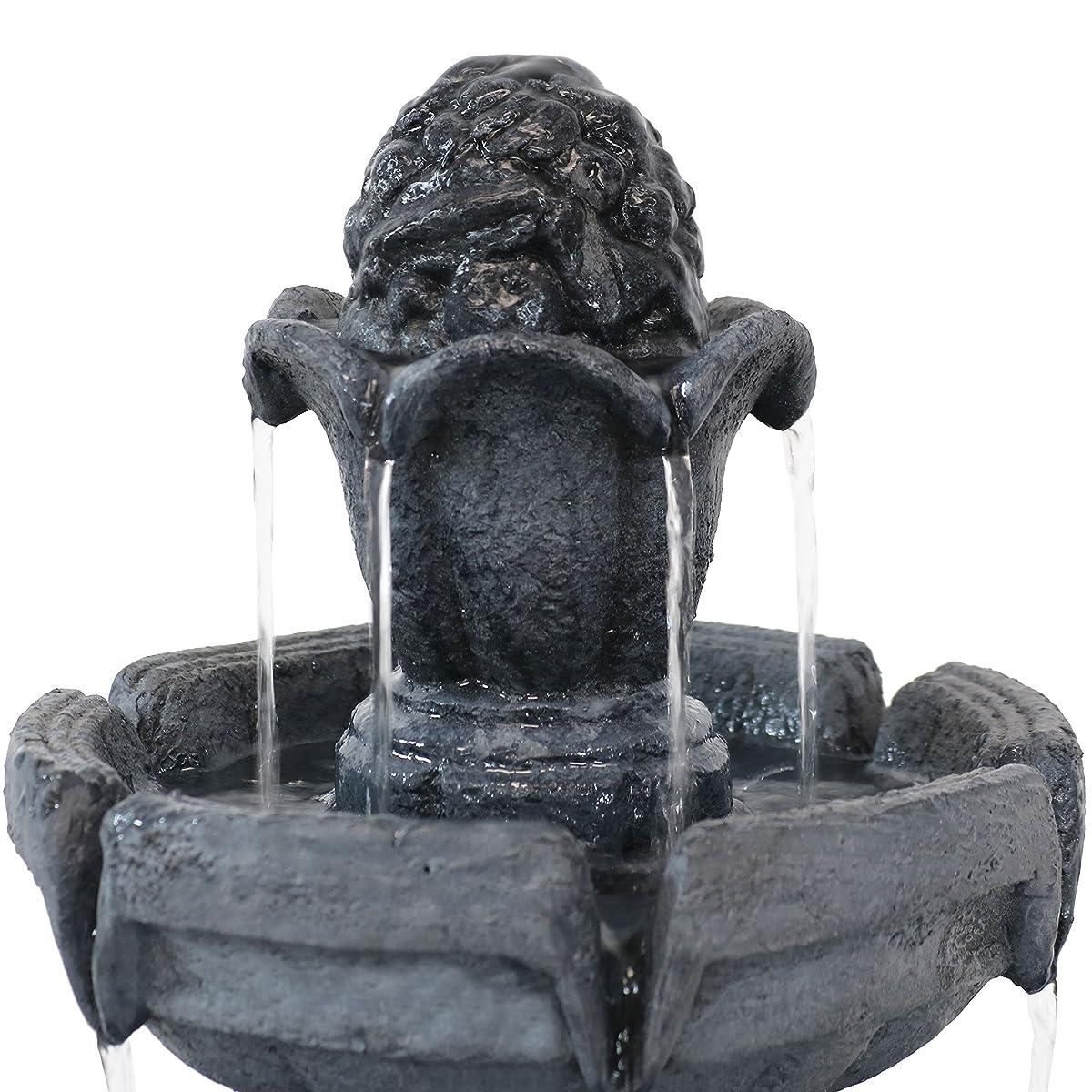 Sunnydaze Budding Fruition 3-Tier Outdoor Water Fountain, 34-Inch