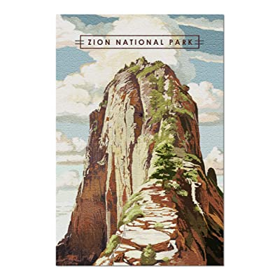 Zion National Park, Utah - Angels Landing - Modern Typography (Premium 1000 Piece Jigsaw Puzzle for Adults, 20x30, Made in USA!): Toys & Games