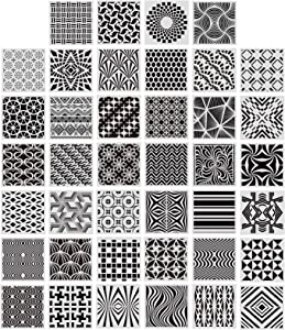 40 Pieces Geometric Stencils Painting Templates for Scrapbooking Cookie Tile Furniture Wall Floor Decor Craft Drawing Tracing DIY Art Supplies, 5.1 x 5.1inch