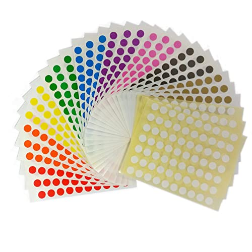 2100 sticky coloured 8mm self adhesive circle dot labels ten colours 232755