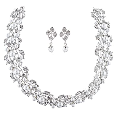 Amazoncom Bridal Wedding Jewelry Set Rhinestone Pearl Leaf White