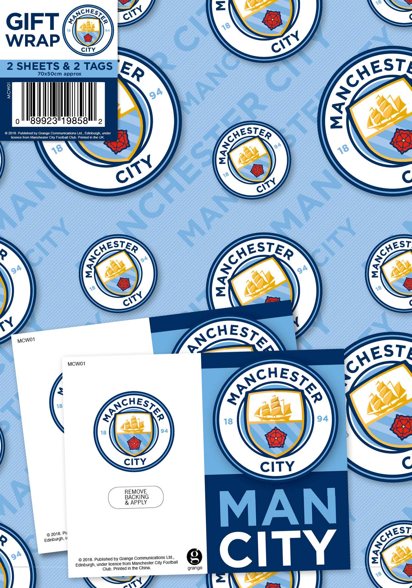 Manchester City Football Club Gift Wrapping Paper 2 Sheets 2 Tags