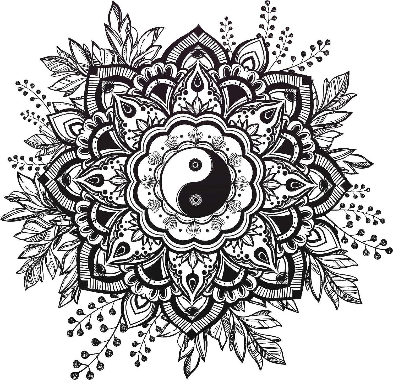 Amazon Black And White Mandala Flower With Yin Yang Center