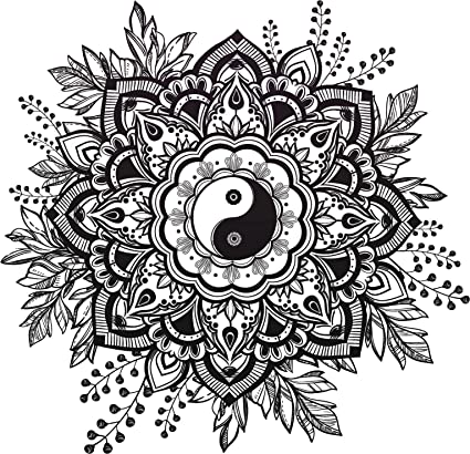 Amazon Black And White Mandala Flower With Yin Yang Center