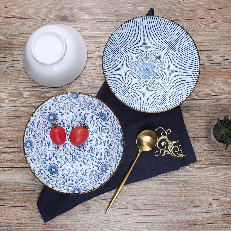 40-Ounce Porcelain Soup,Salad,Pasta Serving Bowls, Assorted Floral Patterns, Stackable Deep Bowl Set of 4 by YALONG (Image #6)
