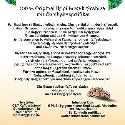 Katzenkaffee Kopi Luwak Kopi Box als Geschenk Set mit Zubehör u ...