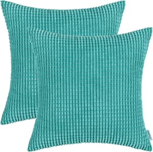 CaliTime Pack of 2 Comfy Throw Pillow Covers Cases for Couch Sofa Bed Decoration Comfortable Supersoft Corduroy Corn Striped Both Sides 24 X 24 Inches Turquoise