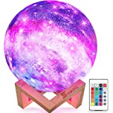 SEGOAL Moon Lamp Kids Night Light, 5.9 Inch Galaxy Lamp 16 Colors LED 3D Star Moon Light with Wood Stand, Touch & Remote Cont