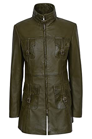 3aeeaaa4e78137 Mistress Ladies Olive Green Vintage Washed Gothic Style Real Leather Jacket  Coat (4 US