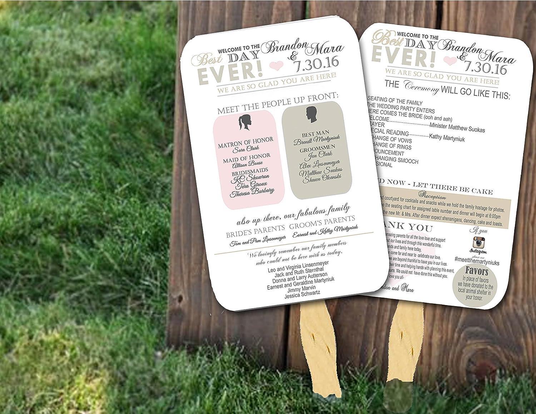 Amazon.com: Personalized Wedding program fans Wedding Programs ...