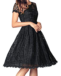 Fancyskin Womens Retro Floral Lace Dress Elegant Cap Sleeve Flare Swing Cocktail Formal Dress