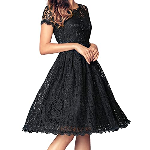 Angerella Womens Retro Floral Lace Cap Sleeve Vintage Bridesmaid Cocktail Dress