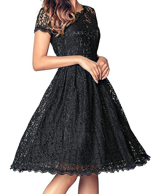 Angerella Vestidos Retro para Las Mujeres Negro Vestido de Fiesta con Clase de la Vendimia
