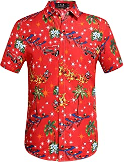 77cfd222 Hawaiian Shirt Mens Christmas Santa Claus Party Aloha Holiday Beach ...