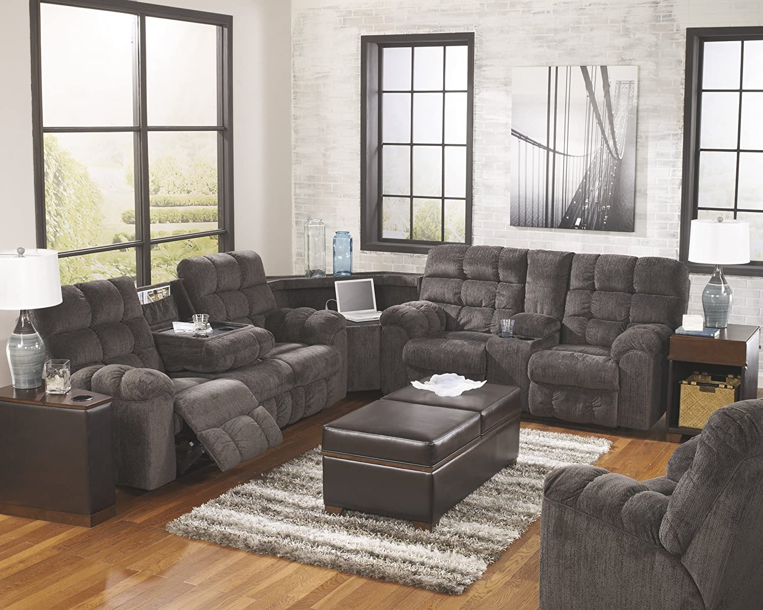 Ashley Furniture Signature Design – Acieona 3-Piece Sectional – Reclining Sofa with Drop-down Table with Wedge Double Reclining Loveseat with Console – Slate